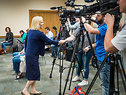 """24 MAY 2019 - WEST DES MOINES, IOWA: US Senator KIRSTEN GILLIBRAND (D-NY) greets the media before a community forum in West Des Moines. Gillibrand unveiled her """"Family Bill of Rights"""" during a forum in West Des Moines. The New York Senator has made family health and rights a centerpiece of her campaign. She is touring Iowa this week to support her candidacy to be the Democratic nominee for the US Presidency. Iowa traditionally hosts the the first selection event of the presidential election cycle. The Iowa Caucuses will be on Feb. 3, 2020.           PHOTO BY JACK KURTZ"""