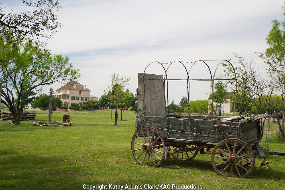 Old Prairie Schooner or covered wagon.  Mansefeldt is a private estate north of Fredericksburg.  The current owners took the original 1850s era home and turned it into a showcase of interior design and Texas style.