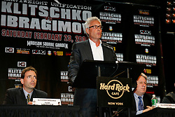 December 4, 2007; New York, NY, USA;  Bernd Boente, manager of Wladimir Klitschko, speaks at the press conference announcing the February 23, 2008 unification fight between IBF/IBO Heavyweight Champion Wladimir Klitschko and WBO Heavyweight Champion Sultan Ibragimov.  The two fighters will meet at Madison Square Garden.