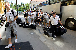 Jaka Klobucar and physiotherapist Teo Djekic at arrival of Slovenian basketball team from a friendly tournament in Spain, on August 9, 2010 at City Hotel, Ljubljana, Slovenia. (Photo by Vid Ponikvar / Sportida)