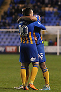 45 Stefan Payne fcelebrates his goal with 10 Nathan Thomas for Shrewsbury Town during the EFL Sky Bet League 1 match between Shrewsbury Town and Peterborough United at Greenhous Meadow, Shrewsbury, England on 24 April 2018. Picture by Graham Holt.