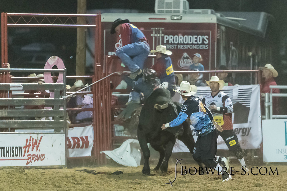 Bull rider Doc Schaller rides Summit Pro Rodeo's Jade in the second performance of the Elizabeth Stampede on Saturday, June 2, 2018.