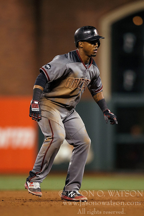 SAN FRANCISCO, CA - APRIL 18: Jean Segura #2 of the Arizona Diamondbacks leads off second base against the San Francisco Giants during the seventh inning at AT&T Park on April 18, 2016 in San Francisco, California. The Arizona Diamondbacks defeated the San Francisco Giants 9-7 in 11 innings.  (Photo by Jason O. Watson/Getty Images) *** Local Caption *** Jean Segura