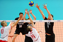 18.06.2011, Bremen Arena, Bremen, GER, FIVB World League, Vorrunde Pool B, Deutschland (GER) vs Bulgarien (BUL), im Bild Valentin Bratoev (#10 BUL), Teodor Todorov (#14 BUL) - Patrick Steuerwald (#17 GER / Perugia ITA)., Stefan Huebner (#9 GER / Dueren GER) // during FIVB World League game, Germany vs Bulgaria, at Bremen Arena, Bremen, 2010-06-18, EXPA Pictures © 2011, PhotoCredit: EXPA/ nph/  Kurth       ****** out of GER / SWE / CRO  / BEL ******