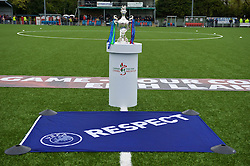 NEWTOWN, WALES - Saturday, May 2, 2015: The FAW Welsh Cup on display at Latham Park ahead of the final between The New Saints and Newtown. (Pic by Ian Cook/Propaganda)