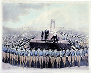French Revolution: Execution of Louis XVI (1754-1893) 21 January 1793.  King of France from 1774. Louis making his final address to the crowd.  Coloured print.
