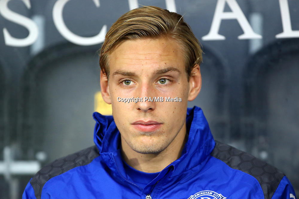 Birmingham City's Nicolai Brock-Madsen on the bench.