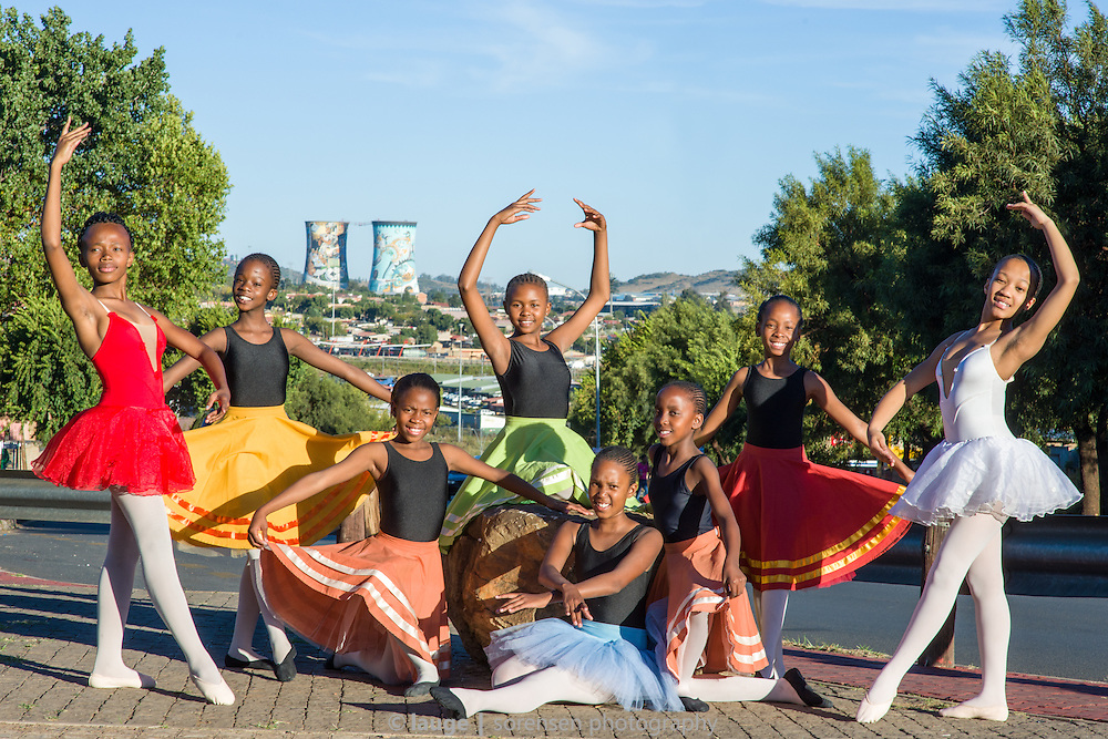 Students with Joburg Ballet's Soweto development program striking a pose with the Orlando power station cooling towers in the background, April 2015