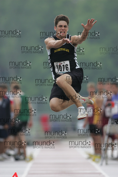 (London, Ontario}---03 June 2010) Andrew Argall of Manitoulin - M'Chigeeng competing in the long jump at the 2010 OFSAA Ontario High School Track and Field Championships. Photograph copyright Sean Burges / Mundo Sport Images, 2010.