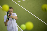 Iga Swiatek - polish junior female tennis player pose for picture while her training session at Mera Tennis Club in Warsaw, Poland.<br /> <br /> Poland, Warsaw, June 25, 2013<br /> <br /> Picture also available in RAW (NEF) or TIFF format on special request.<br /> <br /> For editorial use only. Any commercial or promotional use requires permission.<br /> <br /> Photo by &copy; Adam Nurkiewicz / Mediasport