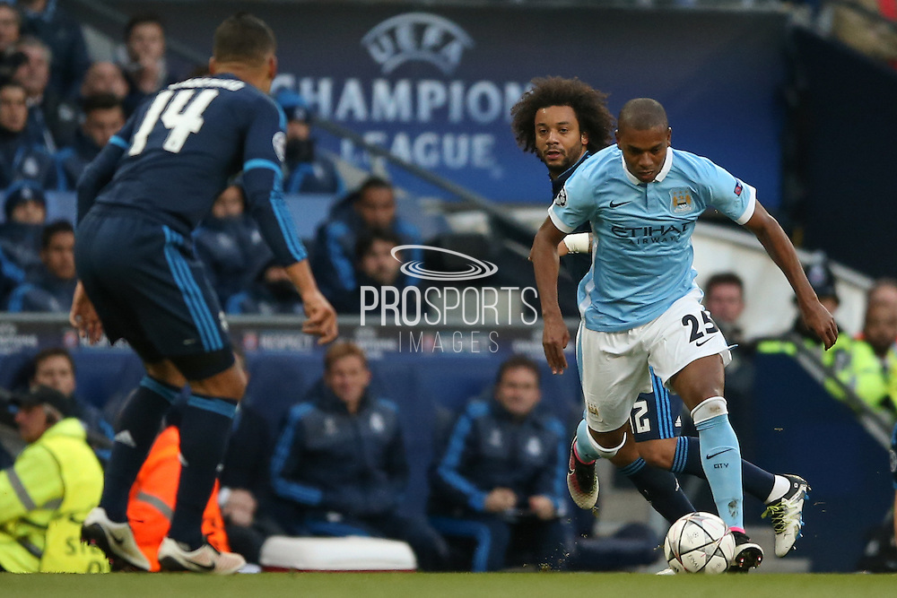 Manchester City midfielder Fernandinho (25)  during the Champions League match between Manchester City and Real Madrid at the Etihad Stadium, Manchester, England on 26 April 2016. Photo by Simon Davies.