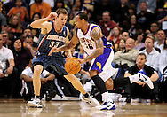 Feb. 4, 2012; Phoenix, AZ, USA; Phoenix Suns guard Shannon Brown (22) drives the ball against the Bobcats guard Matt Carroll (33) during the first half at the US Airways Center. The Suns defeated the Bobcats 95 - 89. Mandatory Credit: Jennifer Stewart-US PRESSWIRE...