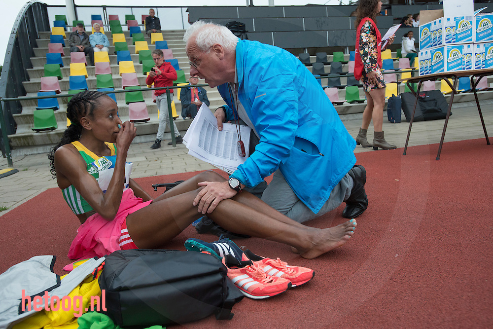 Netherlands,Hengelo 30 june 2016 FBK Almaz Ayana (nr 1/41) world leading time woman 10K 10.000 meters time 30:07:04 seconds