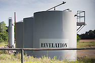 Oil tanks at a fracking industry site in Wellston, Oklahoma.