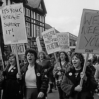 Women,including striking miners' wives march on a demonstration in support of the Miners' Strike.  Chesterfield 31/03/1984.