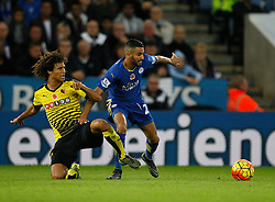 Nathan Ake of Watford (L) and Riyad Mahrez of Leicester City in action  - Mandatory byline: Jack Phillips/JMP - 07966386802 - 7/11/2015 - SPORT - FOOTBALL - Leicester - King Power Stadium - Leicester City v Watford - Barclays Premier League