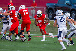 02 September 2017:   Dean Helt and John Ridgeway create a hole for runner James Robinson during the Butler Bulldogs at  Illinois State Redbirds Football game at Hancock Stadium in Normal IL (Photo by Alan Look)