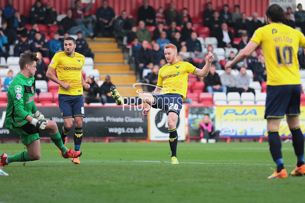 Oxford United forward Ryan Taylor scores the opening goal during the Sky Bet League 2 match between Stevenage and Oxford United at the Lamex Stadium, Stevenage, England on 31 October 2015. Photo by Jemma Phillips.