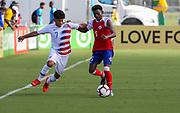 Team USA forward Osvaldo Reyes (7) and Team Haiti defenderEugene Schneider (5) vie for the ball during a CONCACAF boys under-15 championship soccer game, Sunday, Aug. 4, 2019, in Bradenton, Fla. The USA defeated Haiti 2-0 (Kim Hukari/Image of Sport)