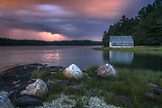 A lightning bolt splits the sky over Middle Bay as seen from Skolfield Shores in Harpswell. I was hoping the storm would be a little closer, but the dramatic sky and beautiful mood compensated for the distant bolt.