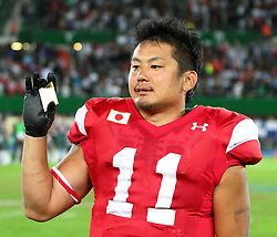 15.07.2011, Ernst Happel Stadion, Wien, AUT, American Football WM 2011, Japan (JAP) vs Mexico (MEX), im Bild MVP of the game Naoki Maeda   (Japan, #11, QB, WR)  // during the American Football World Championship 2011 game, Japan vs Mexico, at Ernst Happel Stadion, Wien, 2011-07-15, EXPA Pictures © 2011, PhotoCredit: EXPA/ T. Haumer