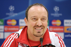 MARSEILLE, FRANCE - Monday, December 10, 2007: Liverpool's manager Rafael Benitez at a press conference at the Stade Velodrome ahead of the final UEFA Champions League Group A match against Olympique de Marseille. Liverpool must win to progress to the knock-out stage. (Photo by David Rawcliffe/Propaganda)