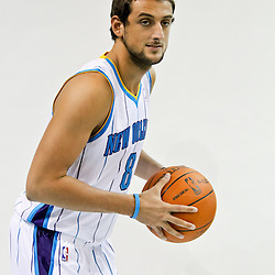 Sep 27, 2010; New Orleans, LA, USA; New Orleans Hornets guard Marco Belinelli (8) poses during media day at the New Orleans Arena. Mandatory Credit: Derick E. Hingle