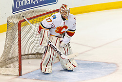 Jan 17, 2012; San Jose, CA, USA; Calgary Flames goalie Leland Irving (37) warms up before the game against the San Jose Sharks at HP Pavilion. San Jose defeated Calgary 2-1 in shootouts. Mandatory Credit: Jason O. Watson-US PRESSWIRE