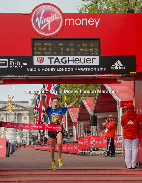 Joshua Dickinson, Yorkshire and Humberside, wins the U15 Boys British Athletics Road Championship at the Mini Marathon. The Virgin Money London Marathon, 23rd April 2017.<br /> <br /> Photo: Thomas Lovelock for Virgin Money London Marathon<br /> <br /> For further information: media@londonmarathonevents.co.uk