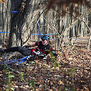 Kim Dubord, Cycling Concepts Racing Team, falls during the The 3rd Annual Newtown Cyclocross Race in the Fairfield Hills and the Town's Municipal Center. Newtown, Connecticut, USA. 15th November 2015. Photo Tim Clayton