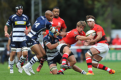 Bristol Rugby Flanker Olly Robinson challenges London Welsh replacement Nic Reynolds - Mandatory byline: Dougie Allward/JMP - 07966 386802 - 13/09/2015 - RUGBY UNION - Old Deer Park - Richmond, London, England - London Welsh v Bristol Rugby - Greene King IPA Championship.