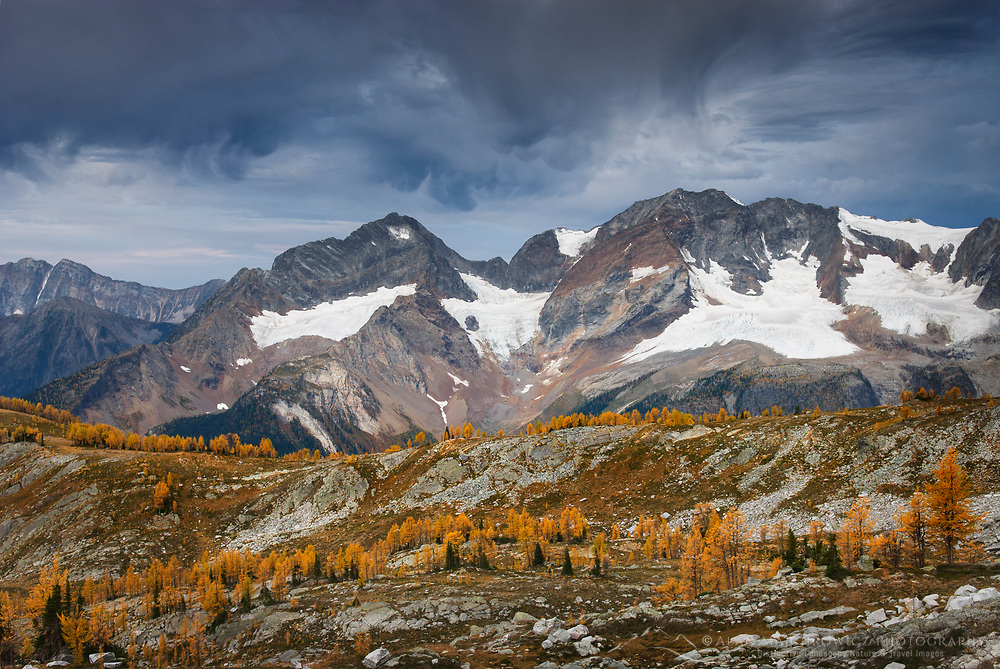 Storm clouds over peaks of the Purcell Mountains British Columbia Canada