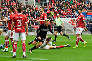 Goal - Samuel Saiz (21) of Leeds United celebrates scoring a goal to give a 0-2 lead to the away team during the EFL Sky Bet Championship match between Bristol City and Leeds United at Ashton Gate, Bristol, England on 21 October 2017. Photo by Graham Hunt.