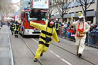 Ludwigshafen. 11.02.18 | <br /> 66. Traditioneller Fasnachtsumzug Mannheim-Ludwigshafen. Diesmal in Ludwigshafen.<br /> - Berufsfeuerwehr Ludwigshafen. 100 Jahre BF LU mit Handl&ouml;schkarre, Drehleiter, Firepocket, Fu&szlig;gruppe<br /> Bild: Markus Prosswitz 11FEB18 / masterpress (Bild ist honorarpflichtig - No Model Release!) <br /> BILD- ID 04372 |
