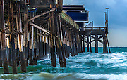 Rough Waves at Newport Beach Pier