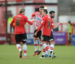 Exeter City's Alex Nicholls  celebrates his goal with Exeter City's Christian Ribeiro - Photo mandatory by-line: Dougie Allward/JMP - Mobile: 07966 386802 - 31/01/2015 - SPORT - Football - Exeter - St James Park - Exeter City v Tranmere Rovers - Sky Bet League Two