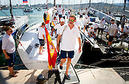 5-8-2015 PALMA DE MALLORCA  Spain's  King Felipe VI on board the Spanish Navy sailing ship &sbquo;Aifos' during the 34th Copa del Rey Mapfre Sailing Cup, Majorca, Spain COPYRIGHT ROBIN UTRECHT<br /> 2015/05/08 PALMA DE MALLORCA Spaanse koning Felipe VI aan boord van de Spaanse marine zeilschip, Aifos 'tijdens de 34e Copa del Rey Mapfre Sailing Cup, Mallorca, Spanje COPYRIGHT ROBIN UTRECHT