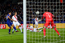 Shinji Okazaki of Leicester City scores his sides first goal  - Mandatory by-line: Matt McNulty/JMP - 22/11/2016 - FOOTBALL - King Power Stadium - Leicester, England - Leicester City v Club Brugge - UEFA Champions League