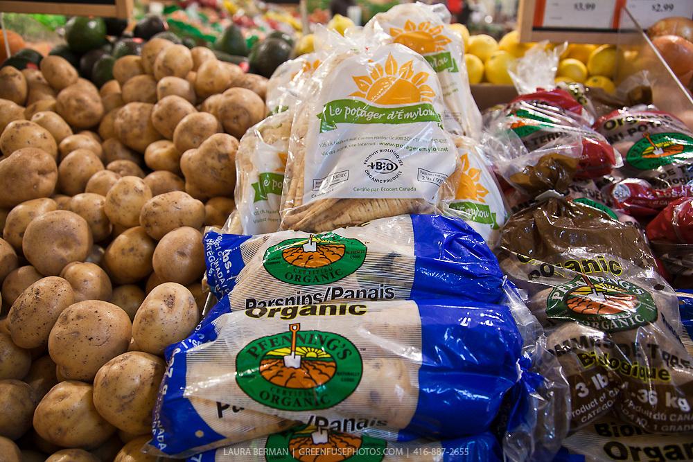 Bags of organic parsips.