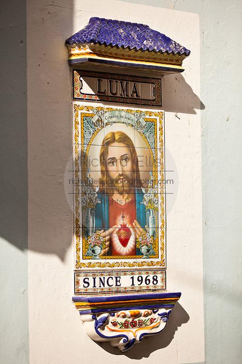 Jesus Christ mosaic marking Calle Luma in Old San Juan, Puerto Rico.