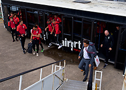 CARDIFF, WALES - Monday, September 4, 2017: Wales manager Chris Coleman and his squad board the team plane as the squad depart Cardiff Airport to travel to Chișinău ahead of the 2018 FIFA World Cup Qualifying Group D match against Moldova. (Pic by David Rawcliffe/Propaganda)