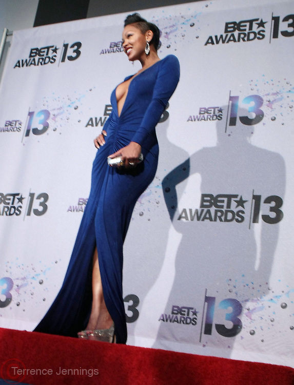 Los Angeles, CA-June 30: Actress Meagan Good backstage at the 2013 BET Awards Winners's Room Inside held at LA Live on June 30, 2013 in Los Angeles, CA. ©Terrence Jennings