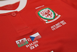 NEWPORT, WALES - Thursday, April 4, 2019: The Wales shirt of Loren Dykes, who will earn her 100th cap, pictured in the dressing room before an International Friendly match between Wales and Czech Republic at Rodney Parade. (Pic by David Rawcliffe/Propaganda)