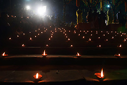 November 22, 2018 - Kolkata, West Bengal, India - Ghats of river Ganges decorated with diya or earthen lamp on the occasion of Dev Deepavali. (Credit Image: © Saikat Paul/Pacific Press via ZUMA Wire)