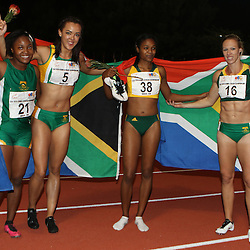 Durban, SOUTH AFRICA, 24,June, 2016 - The Women Senior 4 X 100 Relay Final winners Team South Africa during Day 3 The 20th CAA African Senior Athletics Championships will take place at the Kings Park Athletics Stadium in Durban, South Africa from June 22-26, 2016. (Photo by Steve Haag)