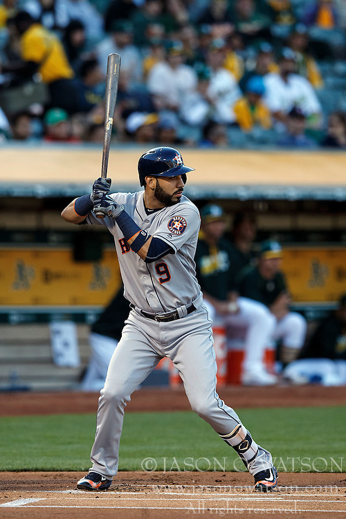 OAKLAND, CA - JULY 19:  Marwin Gonzalez #9 of the Houston Astros at bat against the Oakland Athletics during the first inning at the Oakland Coliseum on July 19, 2016 in Oakland, California. The Oakland Athletics defeated the Houston Astros 4-3 in 10 innings.  (Photo by Jason O. Watson/Getty Images) *** Local Caption *** Marwin Gonzalez