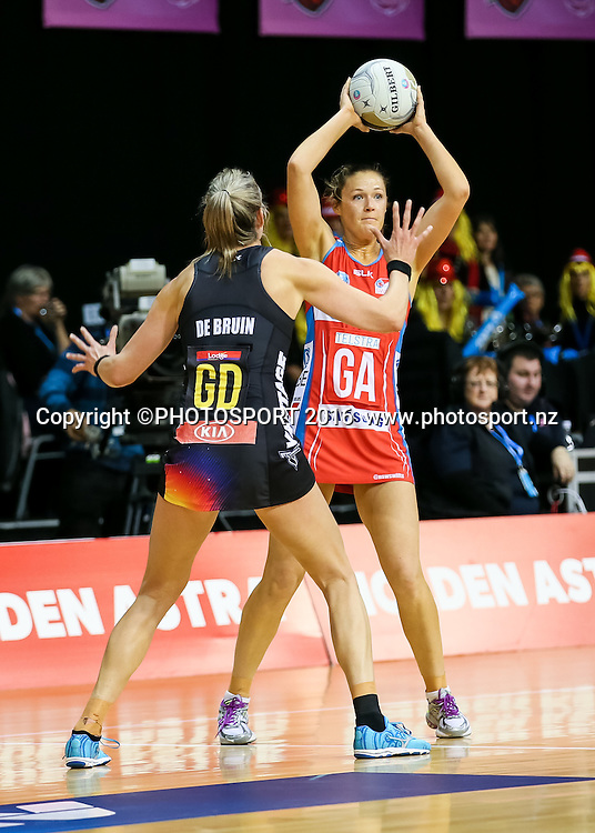 NSW Swift's Susan Pettitt looks to pass past Waikato BOP's Leana De Bruin during the ANZ Netball Championship semi final between the Waikato BOP Magic and the NSW Swifts, played at Claudelands Arena, Hamilton, New Zealand on Monday 25 July 2016.  Copyright Photo: Bruce Lim / www.photosport.nz