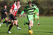 Forest Green Rovers Rovers Luke James(33) runs forward during the The Central League match between Cheltenham Town Reserves and Forest Green Rovers Reserves at The Energy Check Training Ground, Cheltenham, United Kingdom on 28 November 2017. Photo by Shane Healey.