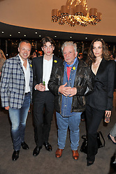 Left to right, GRAHAM NORTON, SASCHA BAILEY, DAVID BAILEY and CATHERINE BAILEY at the launch of Samsung's NX Smart Camera at charity auction with David Bailey in aid of Marie Curie Cancer Care at the Bulgari Hotel, 171 Knightsbridge, London on 14th May 2013.