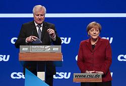 """20.11.2015, Messe Muenchen, Muenchen, GER, CSU Parteitag 2015, Festakt """"70 Jahre CSU"""", im Bild Bundeskanzlerin Dr. Angela Merkel, am Rednerpult Ministerpraesident Horst Seehofer, // during ceremony """"70 years CSU"""" of CSU party convention in 2015 at the Messe Muenchen in Muenchen, Germany on 2015/11/20. EXPA Pictures © 2015, PhotoCredit: EXPA/ Eibner-Pressefoto/ Krieger<br /> <br /> *****ATTENTION - OUT of GER*****"""